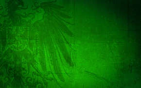 Picture green, background, eagle, coat of arms