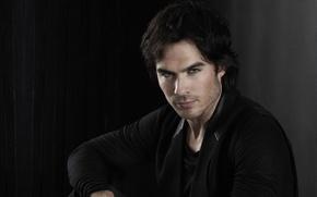 Picture look, face, background, dark, actor, the series, ian somerhalder, the vampire diaries, Ian somerhalder