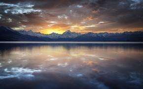 Picture sunset, mountains, clouds, lake, surface, reflection, rocks, ridge