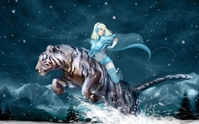 Picture winter, girl, snow, mountains, night, tiger, mood, anime, white tiger