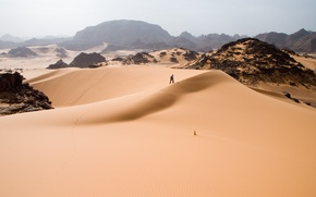 Wallpaper dunes, people, desert, sand