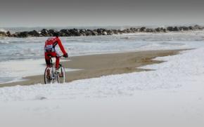Picture sea, snow, shore, athlete, cyclist