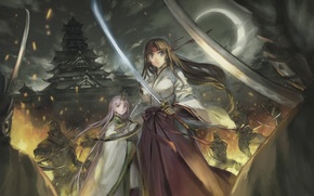 Picture girl, weapons, fire, the moon, katana, the battle, Queen`s blade, Tomoe, warrior temple