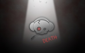 Picture music, skull, headphones, straw, with music to death