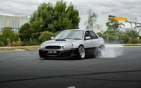 Picture turbo, drift, subaru, japan, smoke, wrx, impreza, jdm, tuning, power, burnout, sti, low, stance