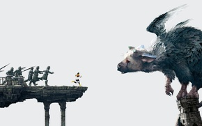 Wallpaper wings, boy, feathers, running, soldiers, claws, horns, beast, Sony, spears, PS4, The Last Guardian, genDESIGN, ...