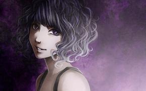 Picture purple, girl, smile, background, art, curls, shilesque