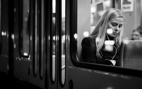 Picture girl, window, lips, train, the city, hair