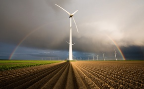 Picture field, rainbow, Netherlands, Holland, wind generators