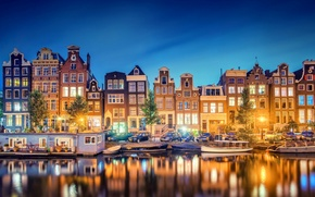 Picture reflection, Amsterdam, Noord-Holland, the city, lights, boats, the evening, channel, Nederland, building, river, Holland, light, ...