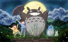 Wallpaper Satsuki, Mei, My neighbor Totoro, Hayao Miyazaki, the moon, my neighbor totoro, clouds, Totoro, the ...