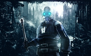 Picture city, abstract, half-life, soldier, background, half life, valve, mask, video games, combine soldier
