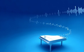 Wallpaper blue, music, piano