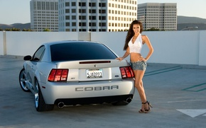 Picture auto, the sky, look, girl, smile, hills, building, Ford, Girls, room, Parking, Cobra