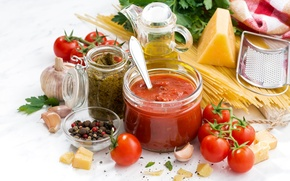 Wallpaper parsley, pepper, tomatoes, oil, pasta, cheese, spaghetti, sauce, spices, garlic