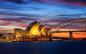 Picture bridge, Sydney, lighting, Bay, sea, lights, the evening, Australia, orange, the sky, Opera House, clouds, ...