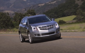 Wallpaper Cadillac, Auto, Road, Machine, Grey, Day, SUV, In Motion, SRX