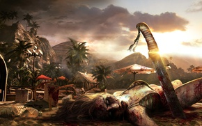 Picture girl, zombie, blood, game, island, machete, blonde, Dead Island, bikini