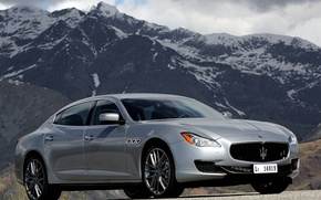 Picture machine, the sky, mountains, Maserati, Quattroporte S, the front