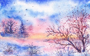 Picture winter, snow, trees, birds, watercolor, painted landscape