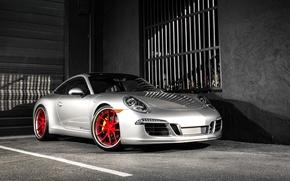 Picture 911, Porsche, red, wheels, Carrera, Silver