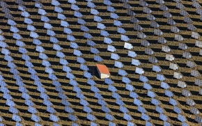 Picture field, panorama, Solar Field