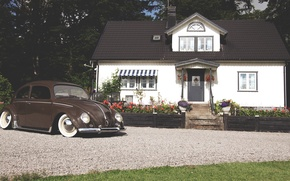Picture house, volkswagen, house, Volkswagen, beetle, beatle