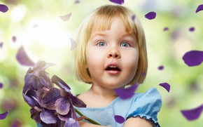 Picture children, girl, beautiful, flowers, beautiful, colors, roses, cute, Amazing, cute, childhood, children, happiness, happiness, childhood, ...