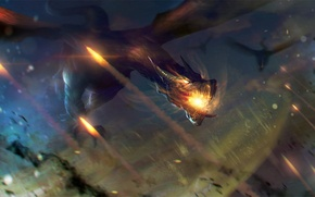 Picture flight, fire, dragons, art, mouth