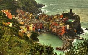 Picture water, trees, the city, shore, coast, building, home, Italy, Italy, The Ligurian sea, Manarola, Manarola, …