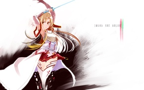 Wallpaper girl, warrior, gloves, sword, sword, long hair, long hair, brown hair, art, brown eyes, warrior, ...