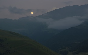 Picture landscape, mountains, night, nature, the moon, the evening, the Caucasus