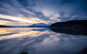 Picture the sky, mountains, lake, reflection, the evening