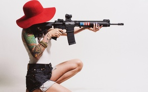 Picture girl, hair, hat, rifle, tattoo, assault