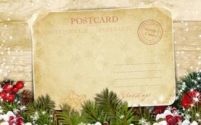 Picture holiday, tree, Christmas, postcard, Merry Christmas, postcard, greeting