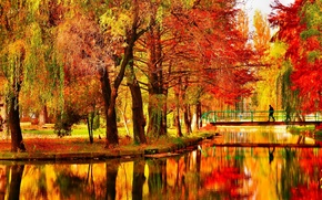 Wallpaper autumn, trees, bridge, pond, Park