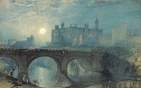 Picture the sun, landscape, sunset, bridge, river, England, picture, deer, William Turner, Alnwick Castle