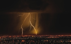 Picture lights, lightning, the city