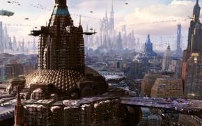Picture the city, future, skyscrapers, megapolis, render