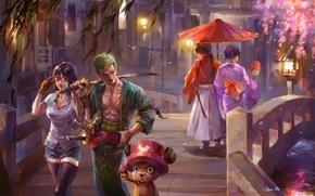 Picture girl, bridge, the city, katana, umbrella, Sakura, art, guy, walk