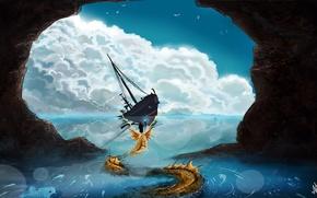 Picture sea, fiction, people, art, staff, ship. rocks, sea creature