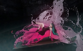 Picture flower, girl, squirt, space, butterfly, model, paint, twiggx