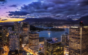Picture building, Canada, panorama, Vancouver, Canada, night city, Vancouver