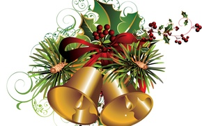 Picture berries, holiday, vector, bells, postcard