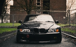 Picture wet, black, BMW, front, the front