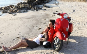 Picture beach, girl, moped, pair, guy, lie, vespa, scooter