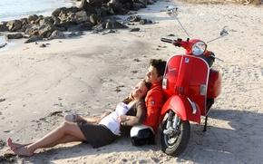 Wallpaper beach, girl, moped, pair, guy, lie, vespa, scooter