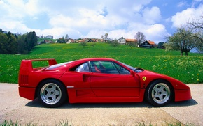 Picture The sky, Red, Auto, The city, Town, Machine, Ferrari, Ferrari, F40, Supercar, Supercar, Ferrari F40, …
