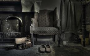 Wallpaper bottle, chair, shoes