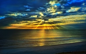 Wallpaper sunrise, nature, beach, sea, rays, in the summer, clouds, the sky, blue, landscape